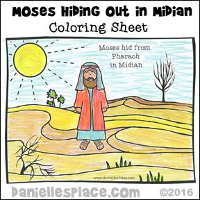 Moses In Midian Desert Coloring Sheet Bible Crafts Bible Crafts