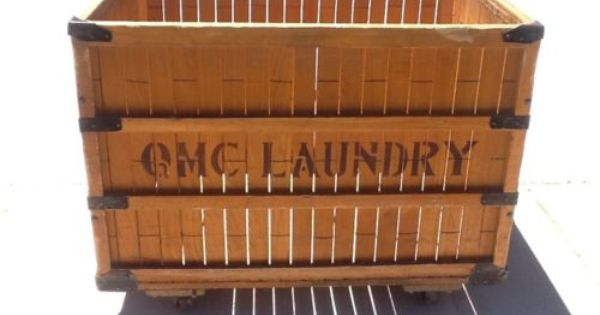 Antique Vintage Industrial Factory Laundry Cart Bin Qmc Laundry