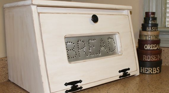 Punched Tin Bread Box Bin Wooden Punched Tin Storage