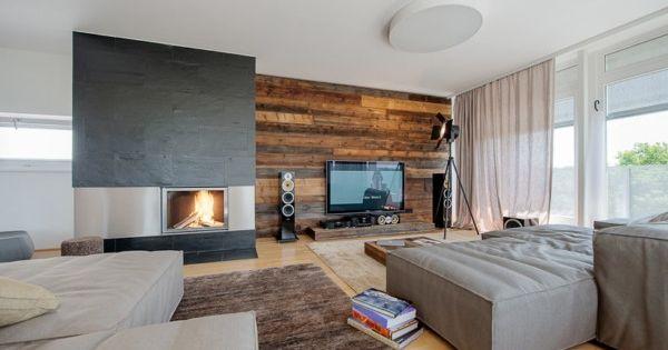 wandverkleidung holz modernes wohnzimmer kamin ecru sofa | media ... - Wohnzimmer Modern Holz