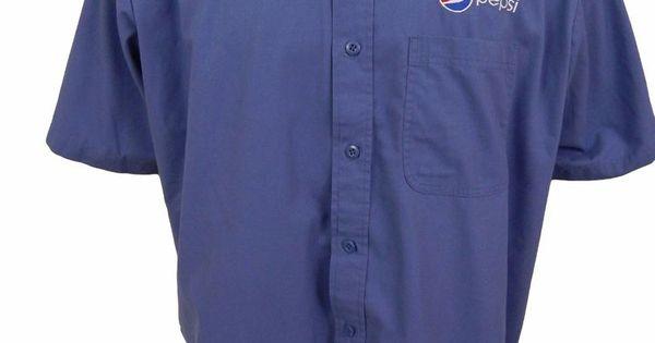 Pepsi embroidered logo employee uniform shirt shirt size for Employee shirts embroidered logo
