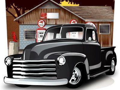 Old School Vector Pick Up Truck Chevy Trucks Truck Art Classic Chevy Trucks