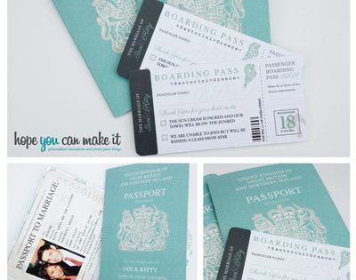 Passport style Wedding invitations designed by Hope You Can Make It -