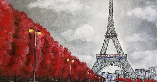 Easy Eiffel Tower Acrylic Painting Impressionist Beginner Paris