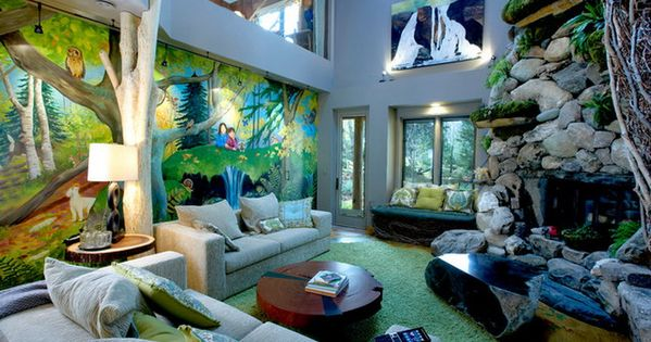 Colorful jungle wall murals in jungle themed living room for Jungle living room ideas