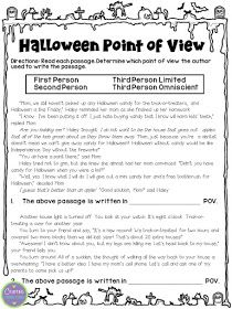 Halloween Point Of View Freebie Halloween Reading Passages Halloween Reading Comprehension Authors Point Of View Point of view grade worksheets