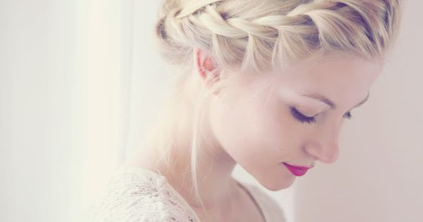 """French"" twist braid around head to form crown. So elegant."