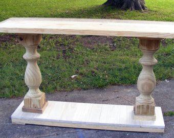 Mesa De Consola Hecha A Mano Hermosa Balaustrada De Ebano Etsy Console Table Farmhouse Dining Table Diy Console Table