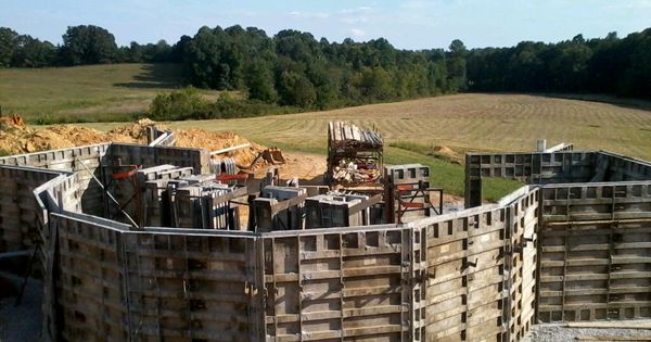 Concrete forms for basement of geodesic dome with for Basement forms