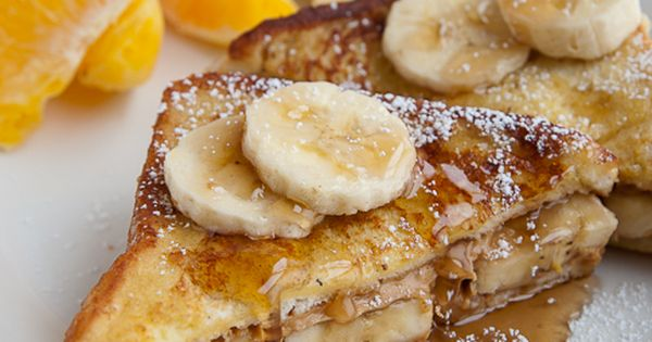 Soft, creamy, completely yummy looking Peanut Butter Banana French Toast. French toast