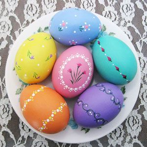 Hand-Painted Ceramic Easter Eggs ~ These delicately painted pastel