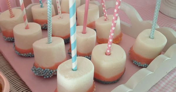 Shabby Chic Birthday Party. Pink dipped marshmallows.