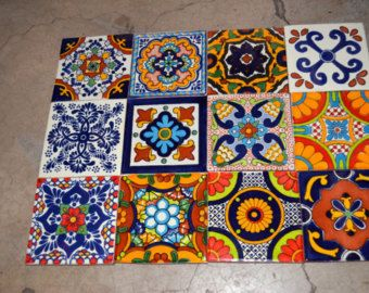 100 Mexican Talavera Tile Mix 4x4 Talavera Tiles Handcrafted Tile Mexican Talavera