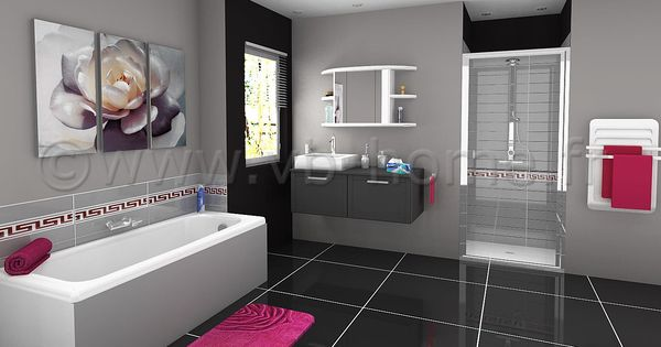Salle de bain f minine orn e de gris et de rose vb for Salle de bain feminine