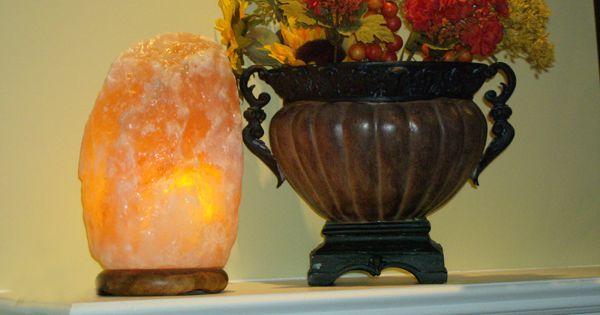 Natural Himalayan crystal salt lamp on fireplace mantel. For the Home Pinterest Himalayan ...