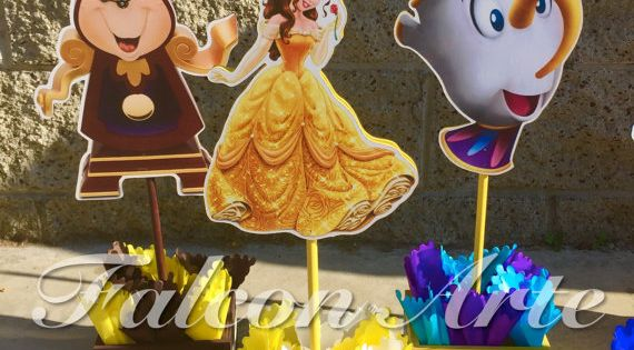 Beauty and the beast birthday centerpiece chip mrs by