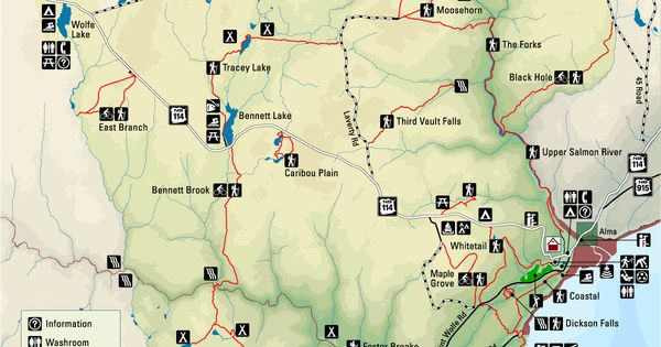Bay Of Fundy Camping >> Fundy National Park Map - New Brunswick | Exploring the ...