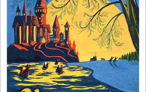 Hogwarts print inspired by vintage travel posters