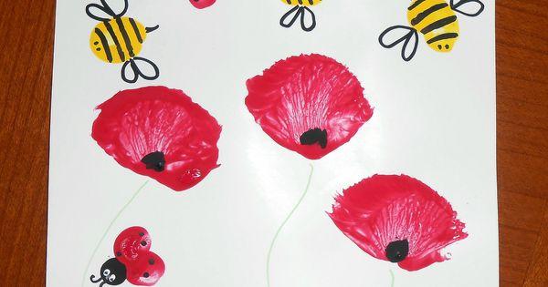 Activit manuelle peinture enfants b b coquelicots fleurs - Activite manuelle simple ...