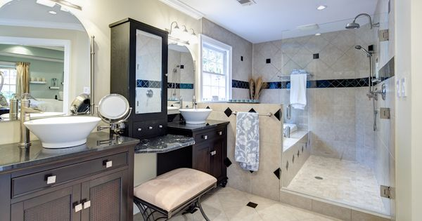 New Luxurious Master Bath Features His Hers Granite
