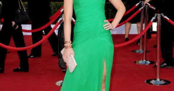 Emily Blunt Green One Shoulder Prom Gown Evening Dress SAG Awards 2012