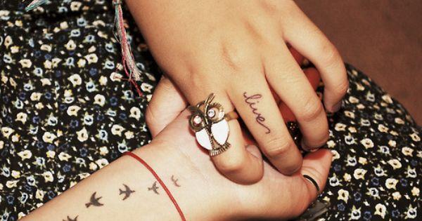 love one word tattoos, birds