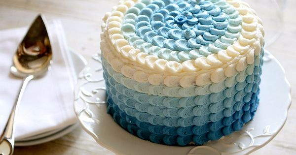 Blue Ombre Petal Cake tutorial. Cute for a chic baby shower!