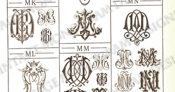 Tattoo Initials Mn: MN Monograms MI/MJ Through MN Page Scan From By