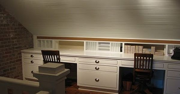 Slanted Ceiling Office Area   Wouldnu0027t Need Two Desks. Like The Idea Of  Built In Drawers/filing Cabinets.