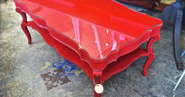 Refinished ornate coffee table with glass top. | Marshall ...