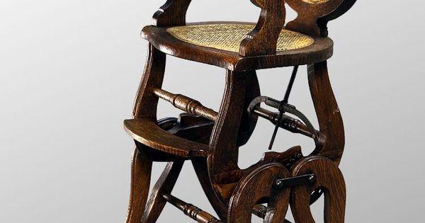 Antique Victorian Oak Childrens High ChairRocker e n f a n t