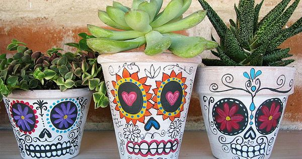 Day of the dead painted plant pots, don't have to just use