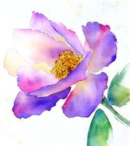 Water Color Paintings Flowers Purple Flowers In Flower Pot