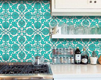 Tile Wall Floor Vinyl Decal Indian Teal Hand Painted Kitchen Bathroom Removable Stair Riser Sticker Pack Of 44 Tile Decals Painting Tile Kitchen Tiles