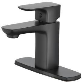 Home2o Farrah Matte Black 1 Handle 4 In Centerset Watersense Bathroom Sink Faucet With Drain H08l 412 Sink Faucets Black Faucet Bathroom Bathroom Sink Faucets
