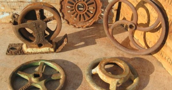 Cast Iron Wheels And Gears : Vintage industrial cast iron pulley channon steampunk