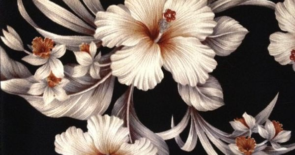 Retro Hawaiian Barkcloth with White Hibiscus