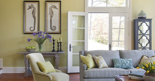 Love this living room color combo: Lime Green and Lavender.