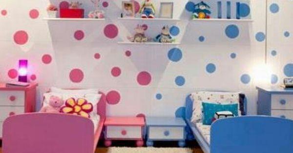Twins or girls and boy room habitaciones infantiles - Habitaciones infantiles compartidas pequenas ...