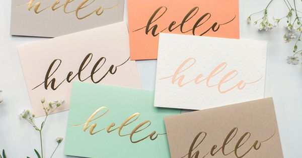 Common thread in color scheme hello / gold foil lettering / stationary