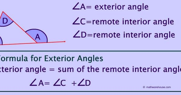 Remote exterior and interior angles of a triangle - The exterior angle theorem answers ...