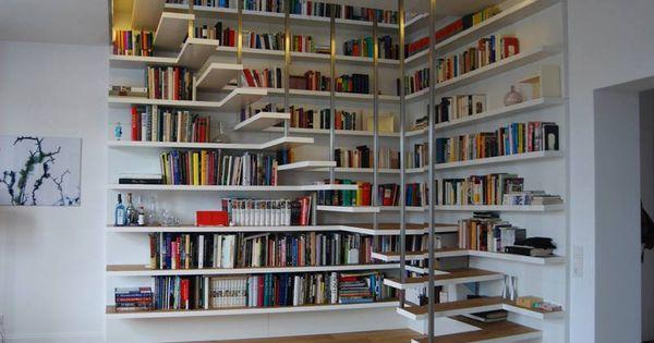 Brilliant storage idea industrial design pinterest - Escaleras para bibliotecas ...