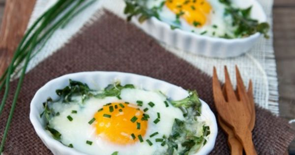 Arugula and Chive Baked Egg Cups | Baked Egg Cups, Baked Eggs and Egg ...