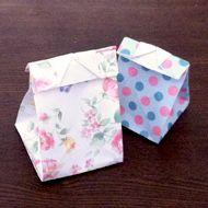 長方形の紙を折って封の出来るミニバッグにする方法 おりがみの折り方 折り紙の箱 折り紙