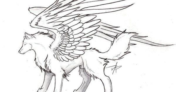 Winged Wolf By Spiritwolf517 Wolf Art Wolf Sketch Wolf Base