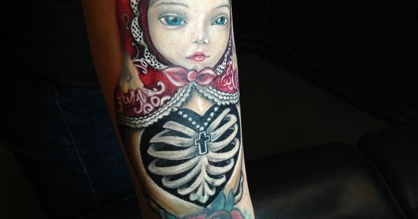 color russian nesting doll tattoo with mark ryden face by monte livingston at living art gallery. Black Bedroom Furniture Sets. Home Design Ideas