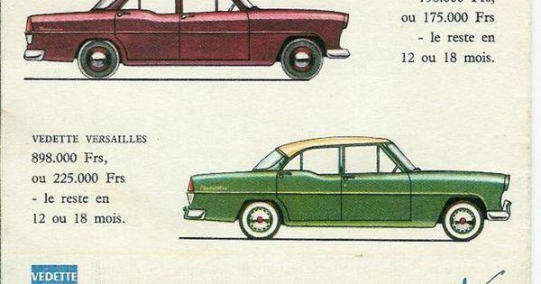 simca vedette trianon and versailles carrelation us classic car brochures pics ads. Black Bedroom Furniture Sets. Home Design Ideas