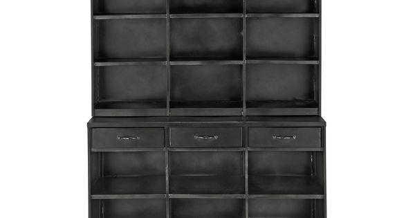 biblioth que indus en m tal noire l 122 cm edison maisons du monde maison du monde ambiances. Black Bedroom Furniture Sets. Home Design Ideas