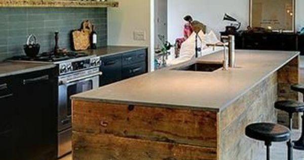 Cuisine avec lot central en bois naturel http www for Cuisine amenagee bois naturel