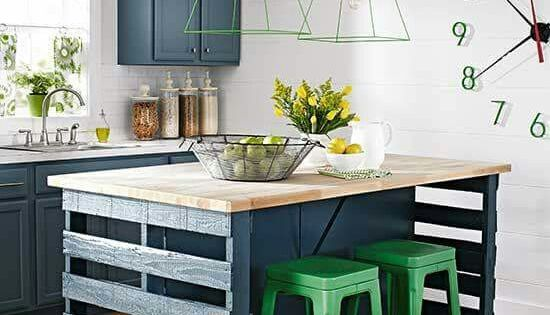 This island is made from pallets genious via for Better homes and gardens kitchen island ideas
